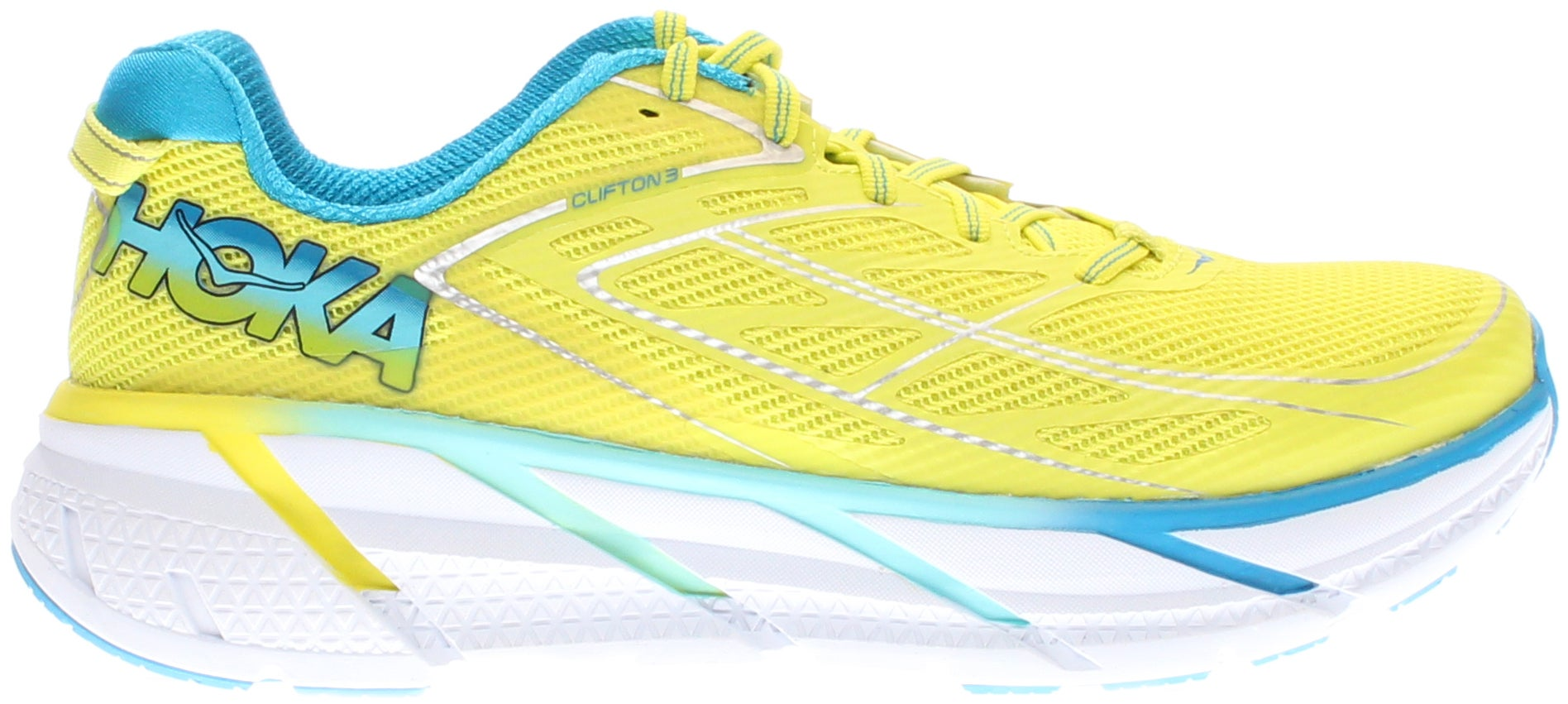 Hoka Clifton 3 Womens - Yellow - Womens The CLIFTON 3 improves upon its decorated heritage with this new release. The upper features a new fit with a more accommodating forefoot, as well as a seamless speed frame construction for light weight and supreme comfort. A similar midsole geometry means that the industry leading ride remains as light and smooth as ever. When cushioning and light weight are your top priorities, look no further.