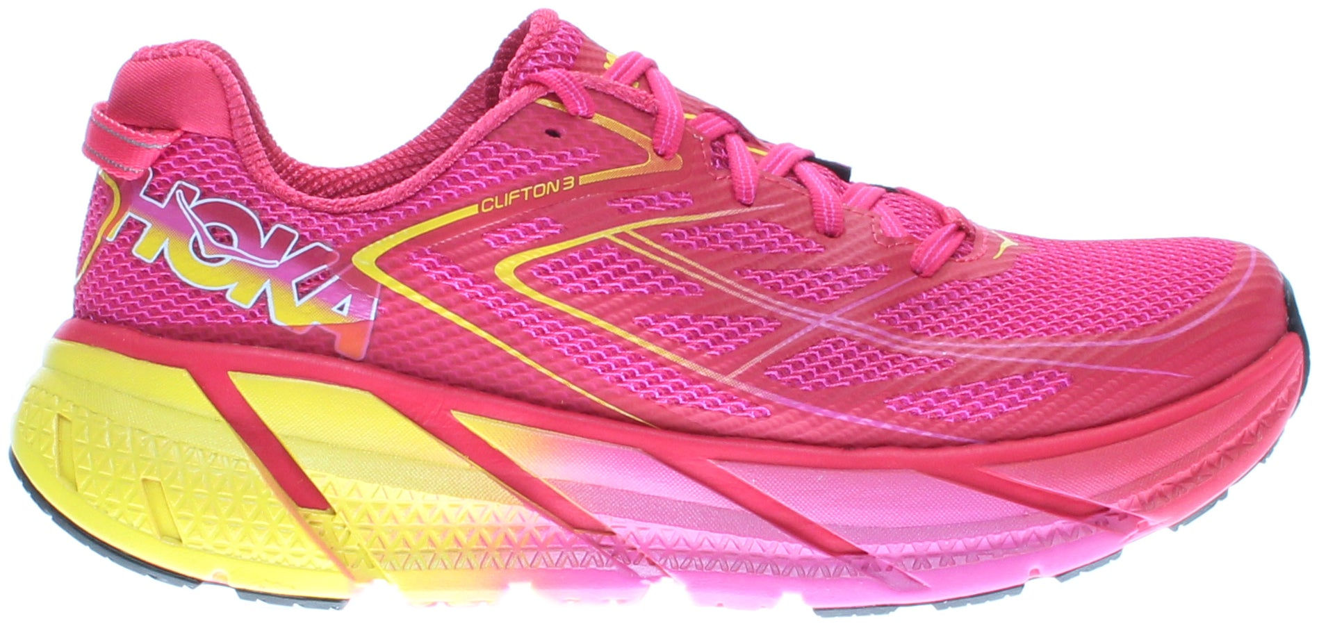 Hoka Clifton 3 Womens - Pink - Womens The CLIFTON 3 improves upon its decorated heritage with this new release. The upper features a new fit with a more accommodating forefoot, as well as a seamless speed frame construction for light weight and supreme comfort. A similar midsole geometry means that the industry leading ride remains as light and smooth as ever. When cushioning and light weight are your top priorities, look no further.
