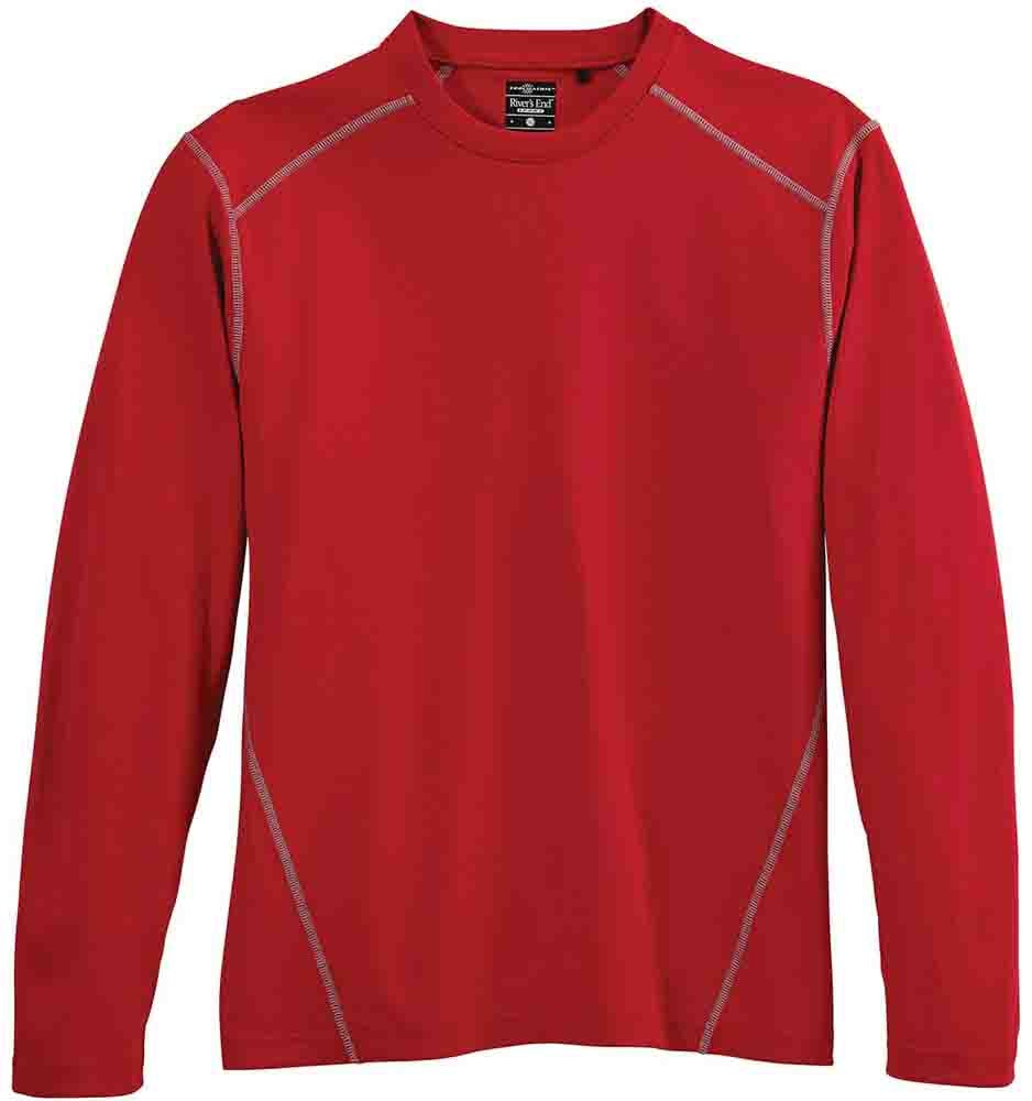 River's End Long Sleeve Crewneck Tee Red - Mens  - Size Xxxl