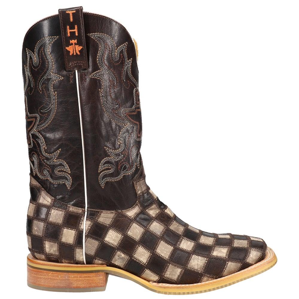 14-020-0007-0206 Br Tin Haul Men/'s Gunslinger Checkered Cowboy Boot Square Toe