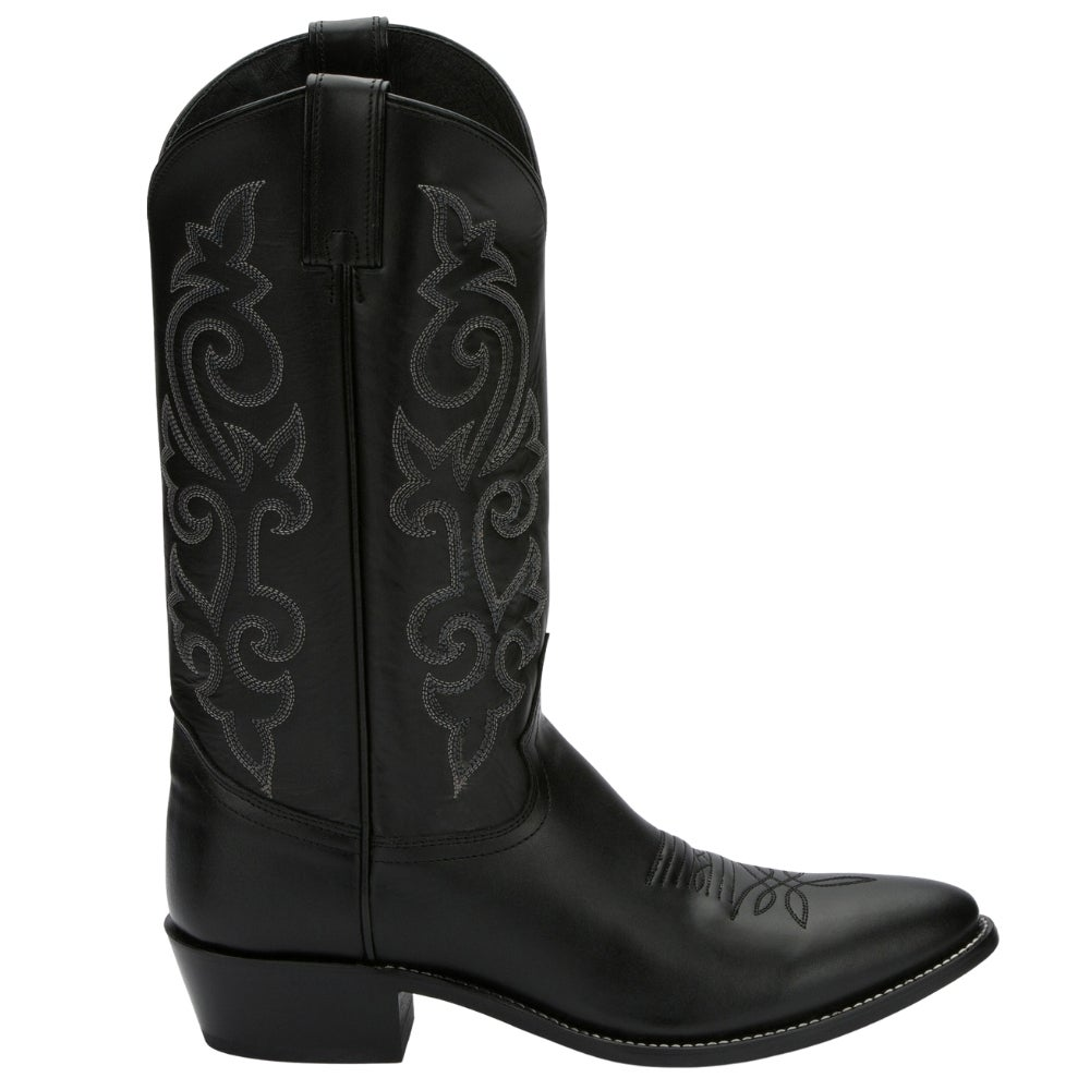 Justin Boots Western Black London Calf Med Round Toe