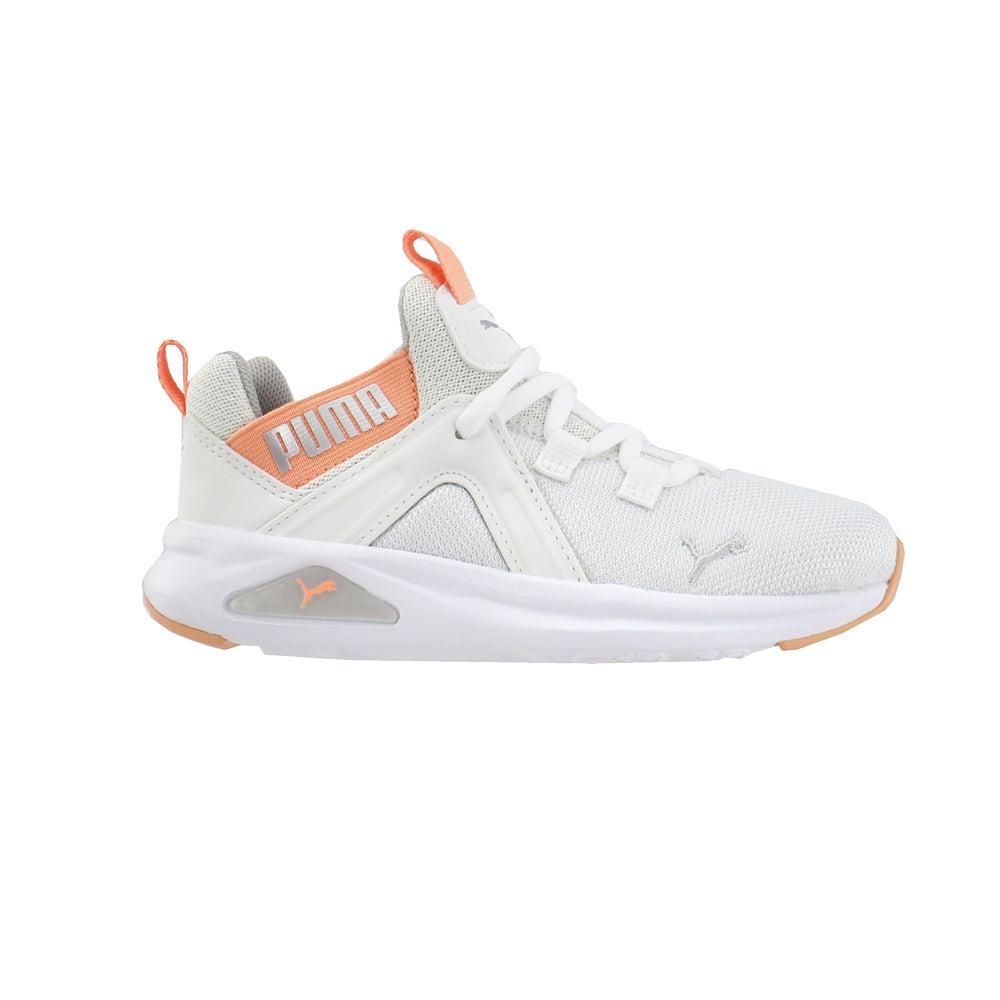 miniature 2 - Puma ENZO 2 shineline AC Lacets Enfants Garçons Baskets Chaussures Décontractées-Blanc -