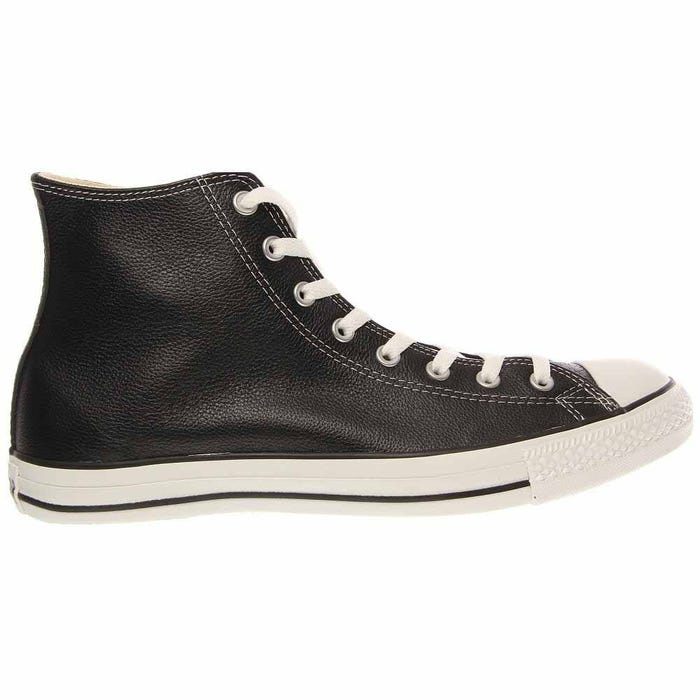 All Star Black Leather Rubber Cap Lace Up