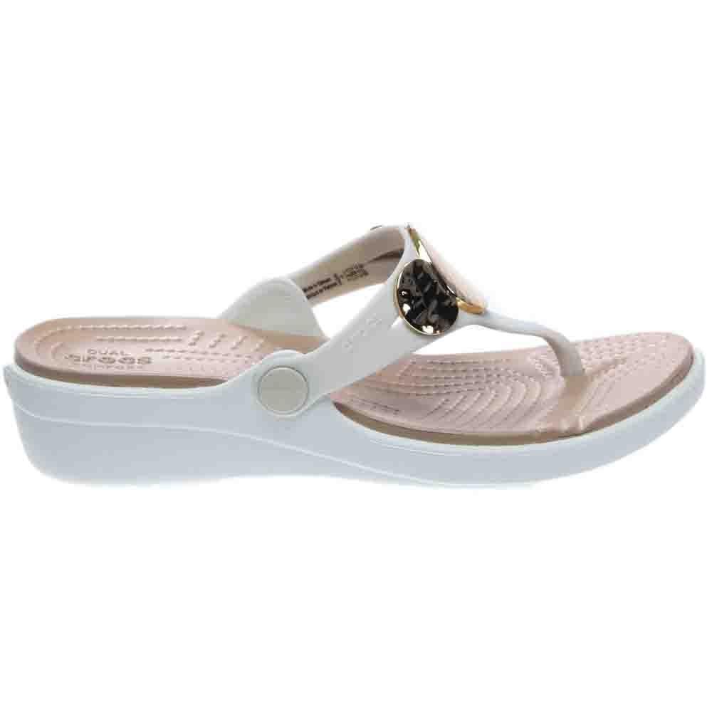 223db878a718 Details about crocs sanrah embellished wedge flip sandals beige womens jpg  1000x1000 Crocs sanrah