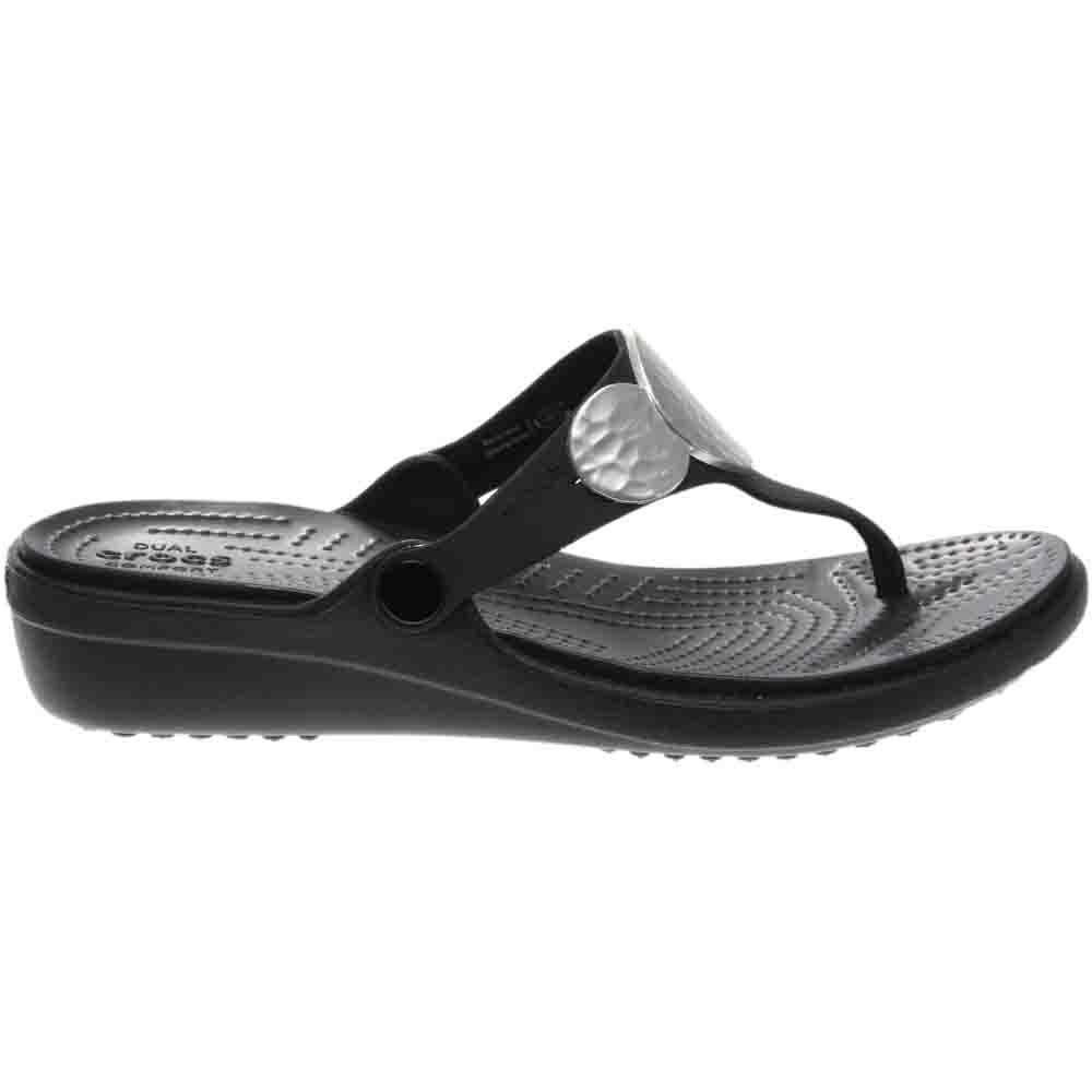 b90e7ef1bcd590 Details about Crocs Sanrah Embellished Wedge Flip Sneakers - Black - Womens