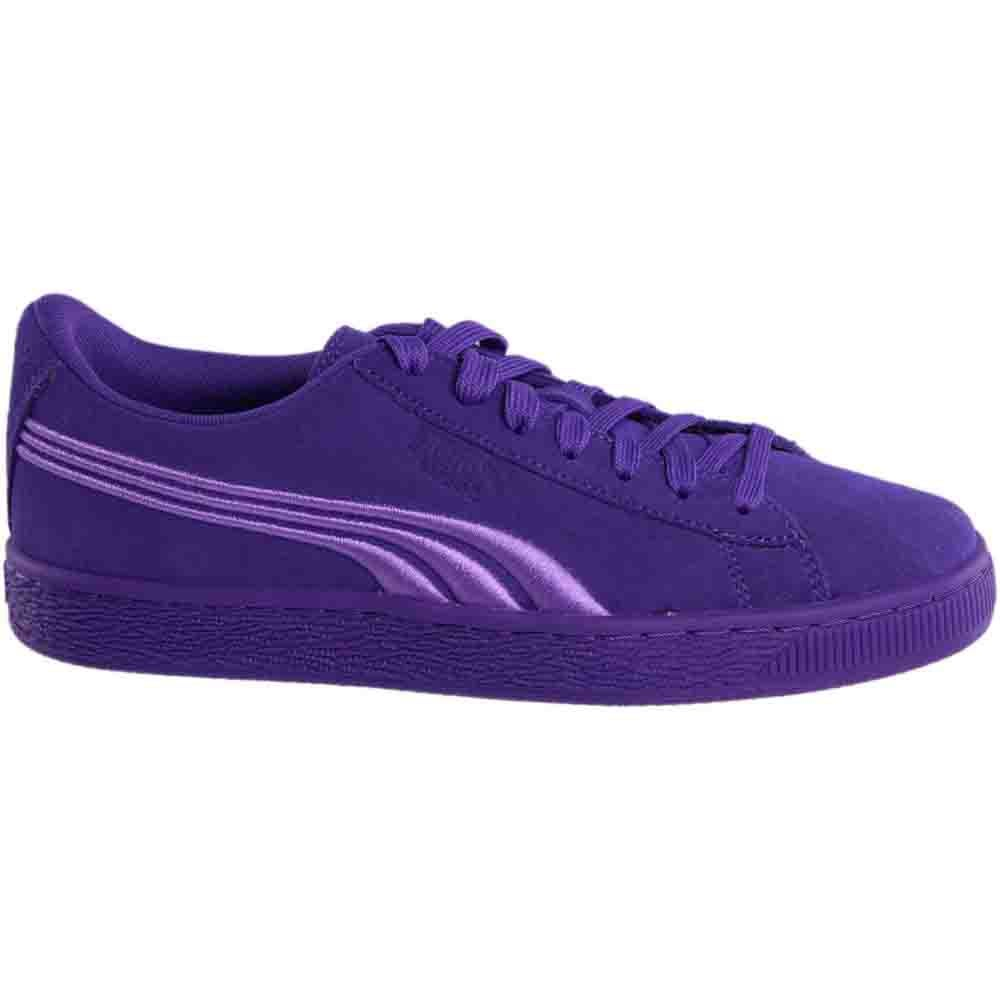 Puma Suede Classic Badge Junior Purple Womens Lace Up Sneakers