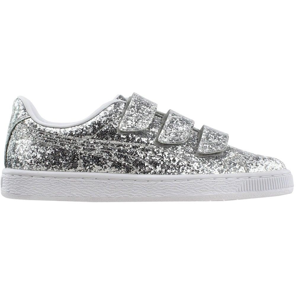 b0b89ec9e2b Details about Puma Basket Strap Glitter Sneakers Silver - Womens - Size 7 B