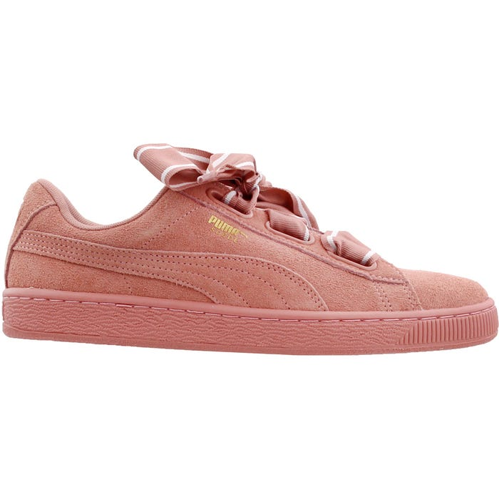 tool gallery Transcend  Puma Suede Heart Satin II Pink Womens Lace Up Sneakers