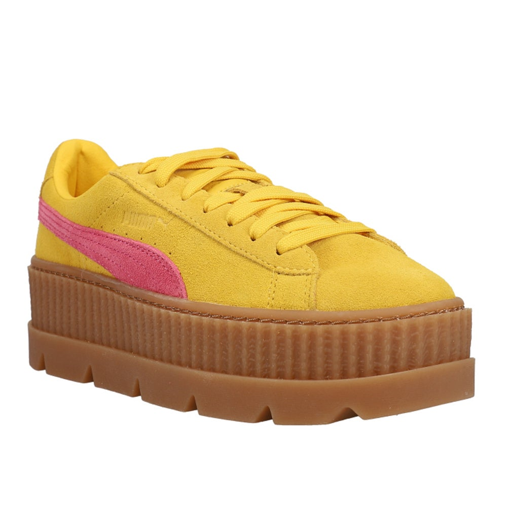 zona odio Tropezón  Puma Fenty by Rihanna Suede Cleated Creeper Platform Sneakers Yellow Womens  Lace Up Sneakers