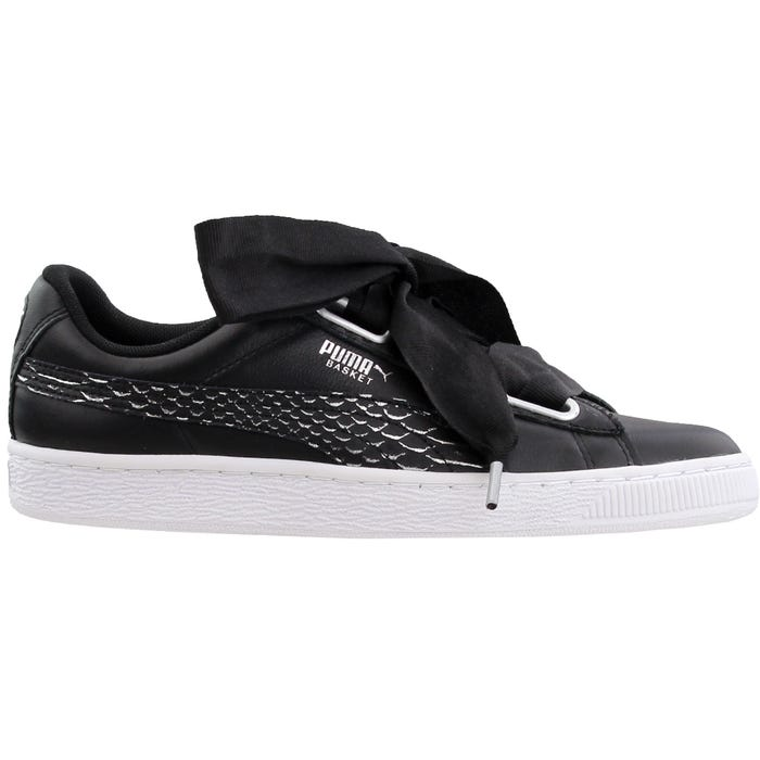 petróleo crudo masa exceso  Puma Basket Heart Oceanaire Black Womens Lace Up Sneakers