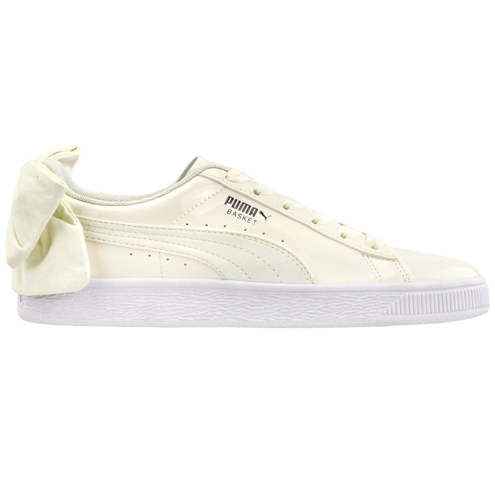 Puma Basket Bow Lace Up Sneakers Off White Womens Lace Up Sneakers