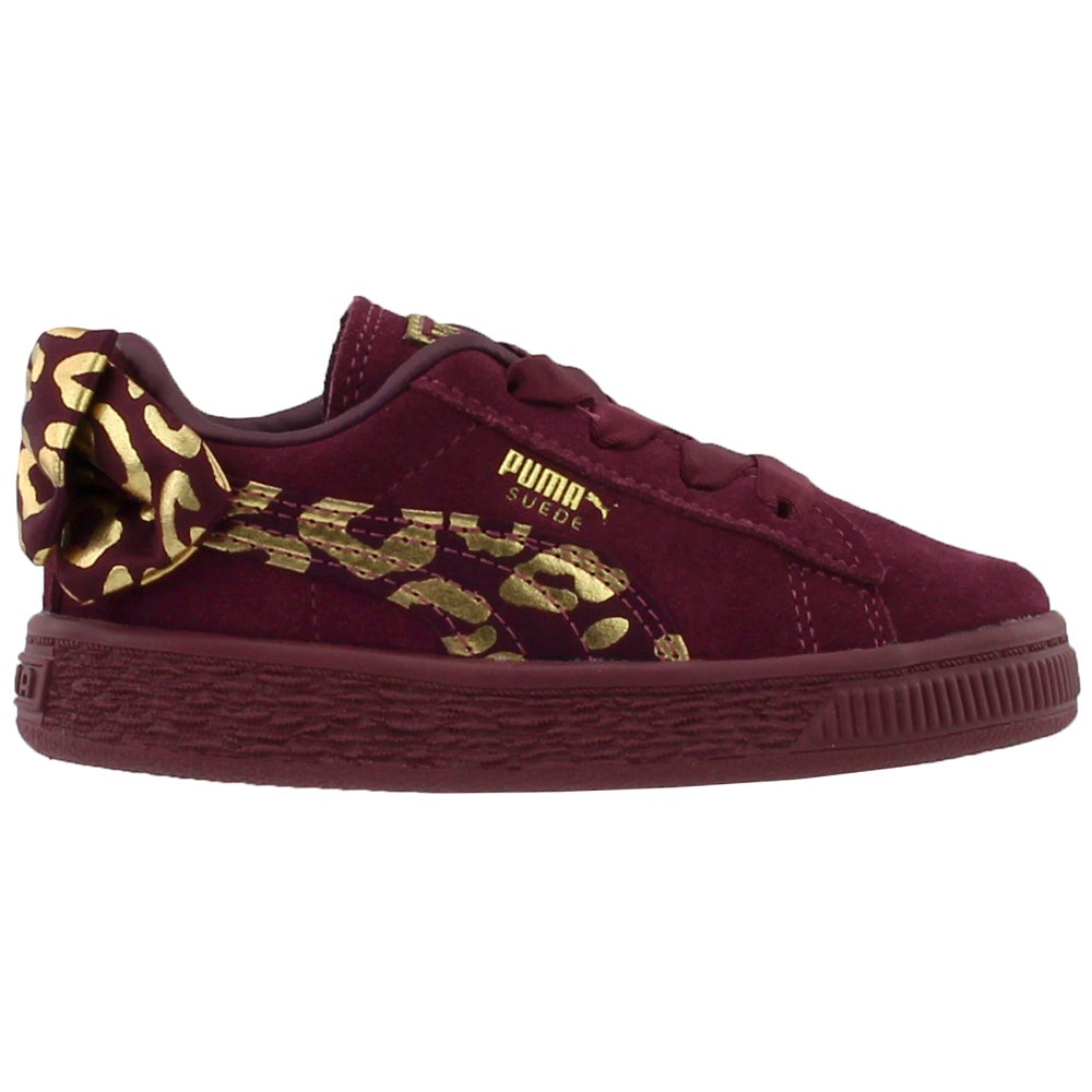 new product 0a8a9 d9e22 Details about Puma Suede Bow Athluxe Infant Casual Sneakers - Burgundy -  Girls