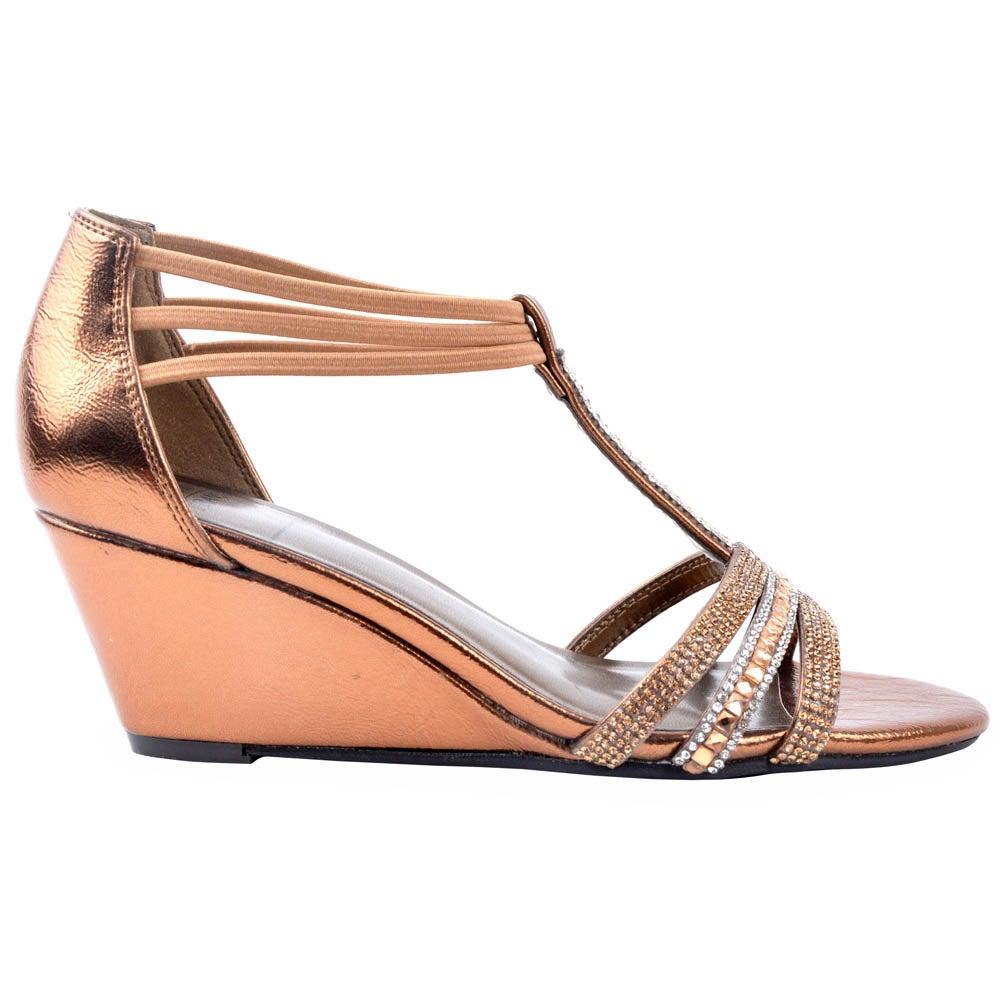 New York Transit Badges Shine Brown Womens Sandals Wedges