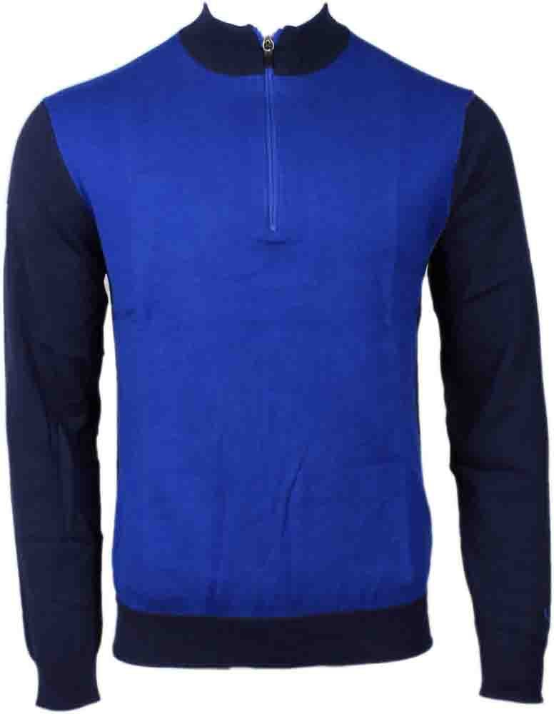Puma Tailored Block Quarter-Zip Golf Sweater Blue - Mens  - Size