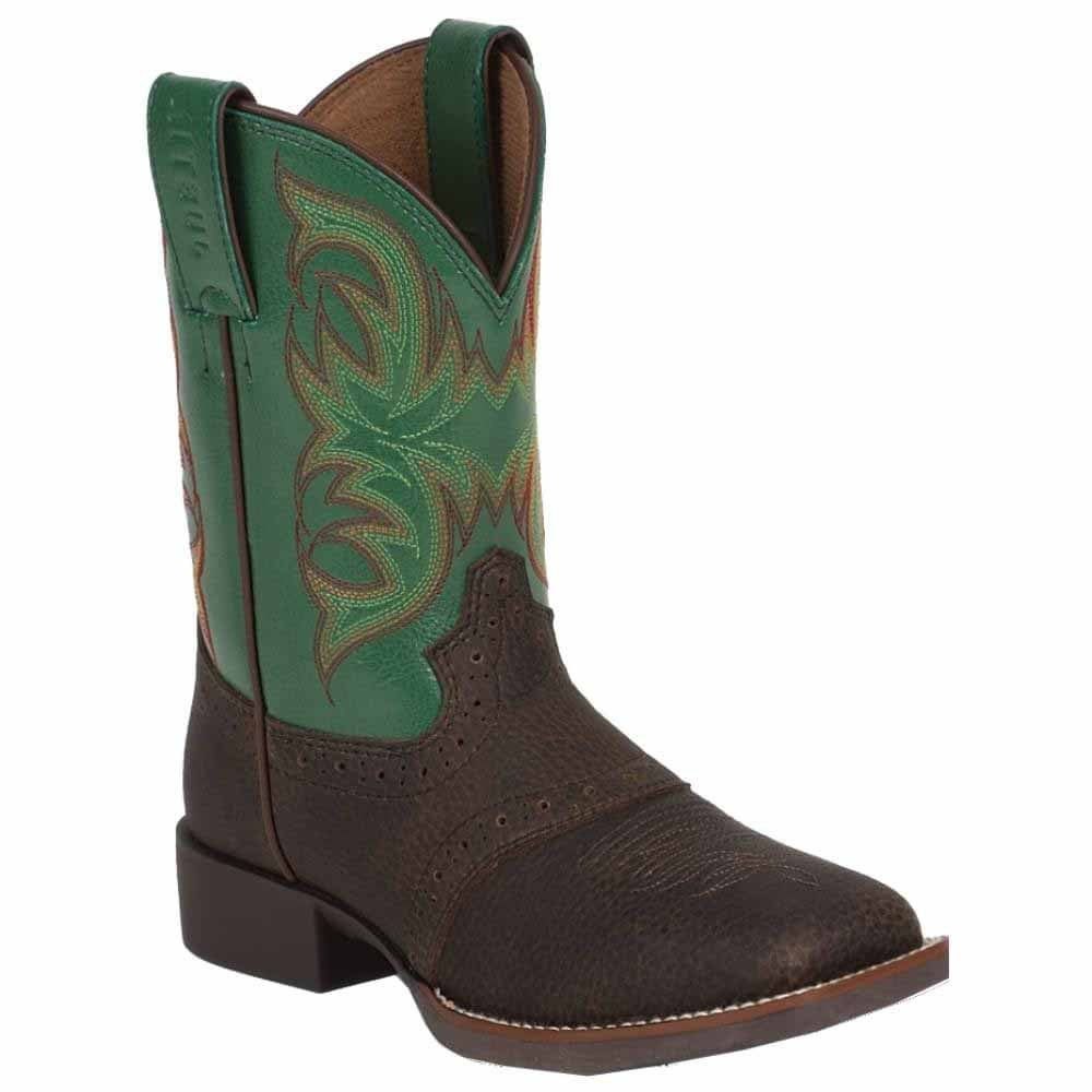 Justin Boots Brown Oiled Grubstake W/Perfed Saddle (Toddler / Youth)