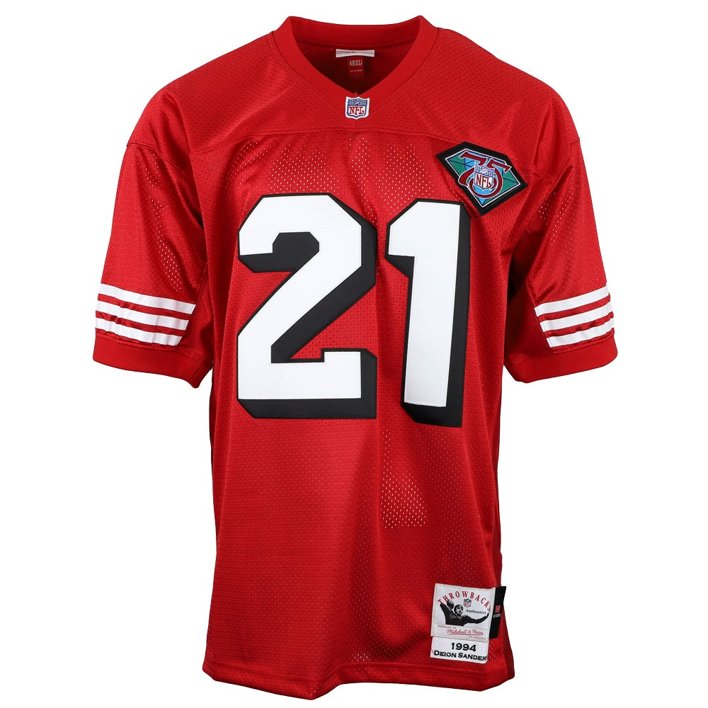 Mitchell & Ness NFL Authentic Jersey 49ers Deion Sanders Red Mens Tops