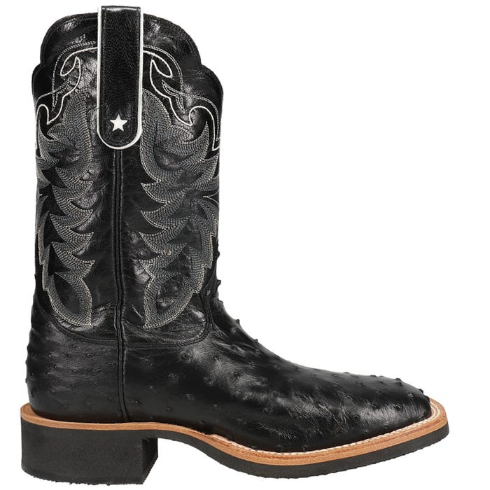 Black Full Quill Ostrich Cowboy Crepe