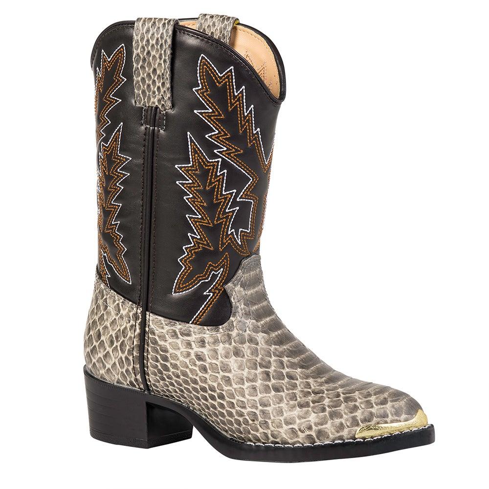 Durango Little Kid Tan Snake Print Western Boot