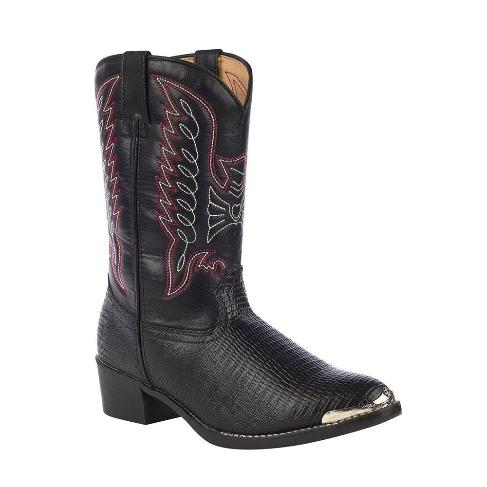 Durango Little Kid Black Lizard Print Western Boot