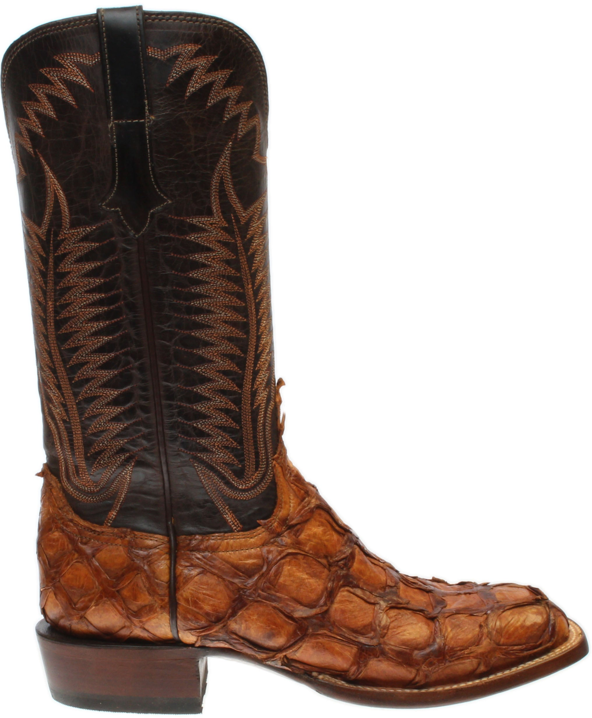 Lucchese Brooks Pirarucu and Mad Dog Goat Leather Boots