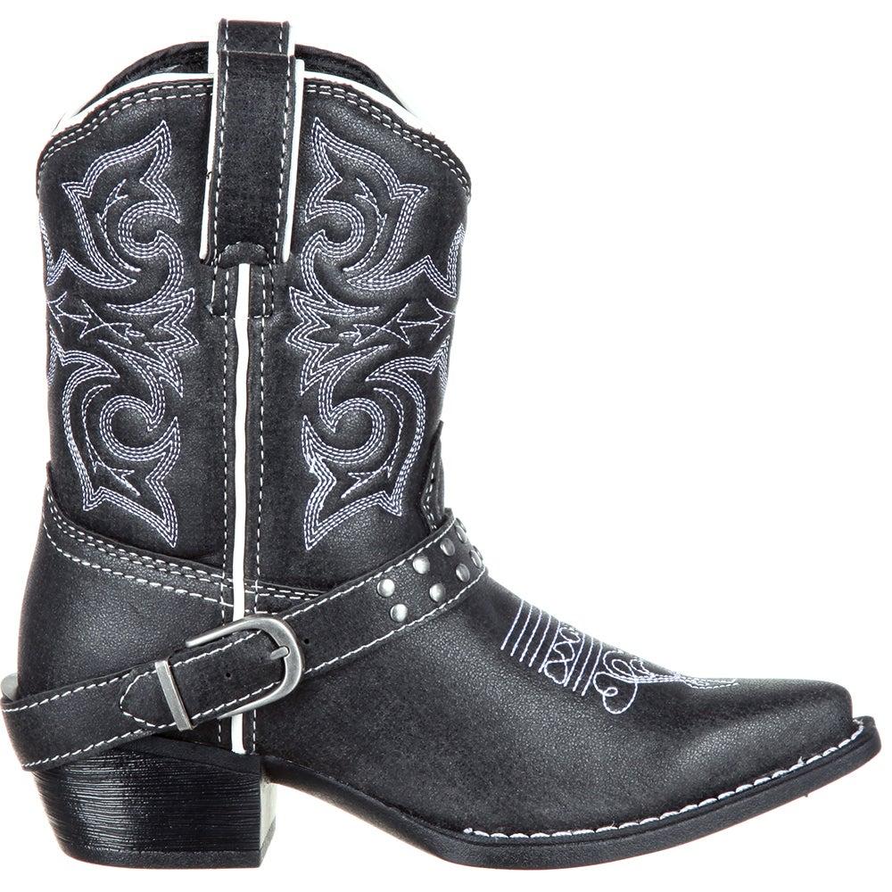 Lil' Durango Little Kids' Black Stud Belted Western Boot