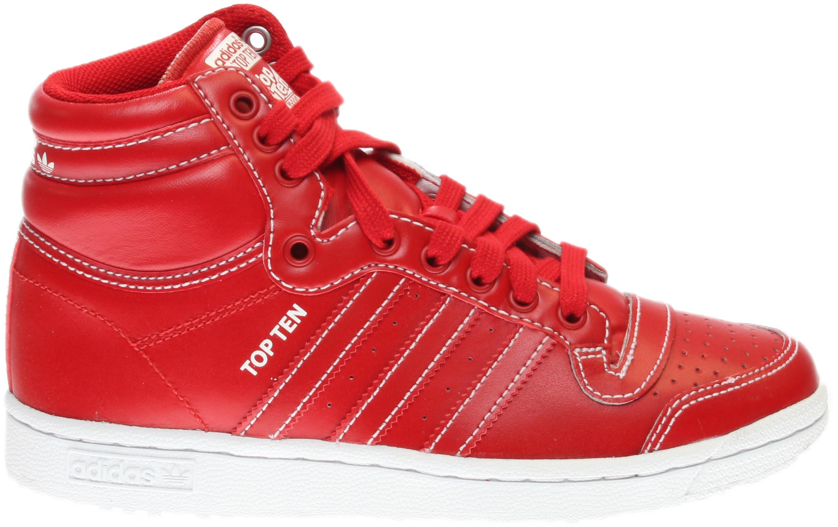 adidas Top Ten Hi Red;White - Mens  - Size 4