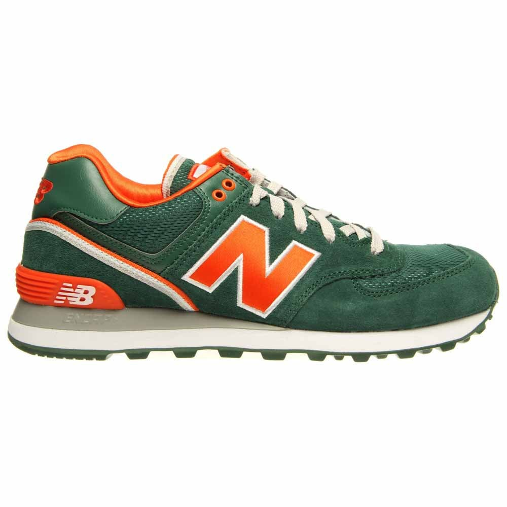 New Balance Stadium Jacket 574 Green with Orange Retro Shoes