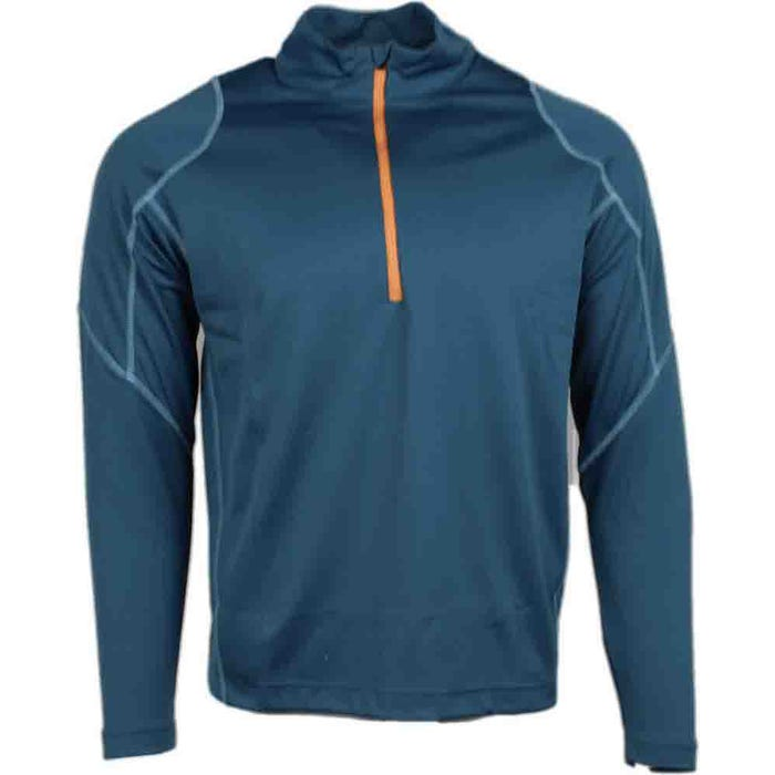 Coverstitch Quarter Zip Mock Neck Layering Pullover