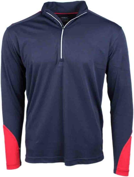 Colorblock Quarter Zip Mock Neck Pullover