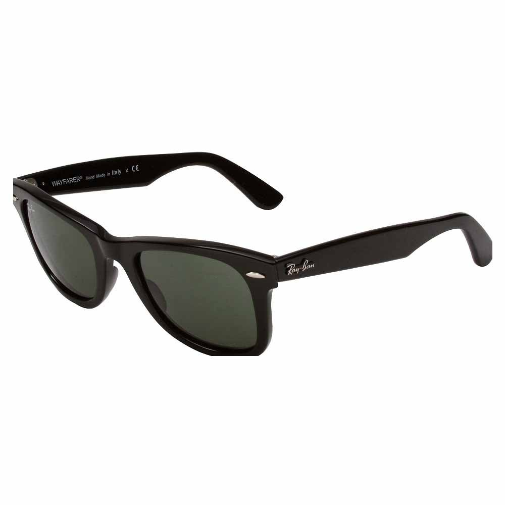 Original Wayfarer 50mm (Medium) Black - Mens - Size One Size These iconic Ray-Ban Original Wayfarer sunglasses for men or women add cool retro style to any look. These unisex sunglasses feature lightweight plastic frames with 50mm G-15XLT lenses for 100% UV protection and classic style.