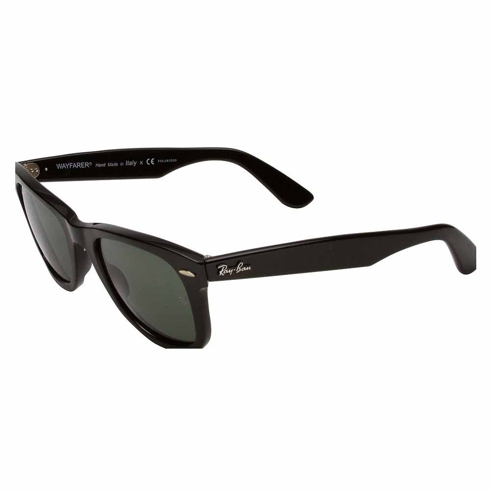 Original Wayfarer Polarized 50mm (Medium) Black - Mens - Size 54Mm These iconic Ray-Ban Original Wayfarer polarized sunglasses for men or women add cool retro style to any look. These unisex polarized sunglasses feature lightweight plastic frames with 50mm Polar Natural Green lenses for 100% UV protection and classic style.