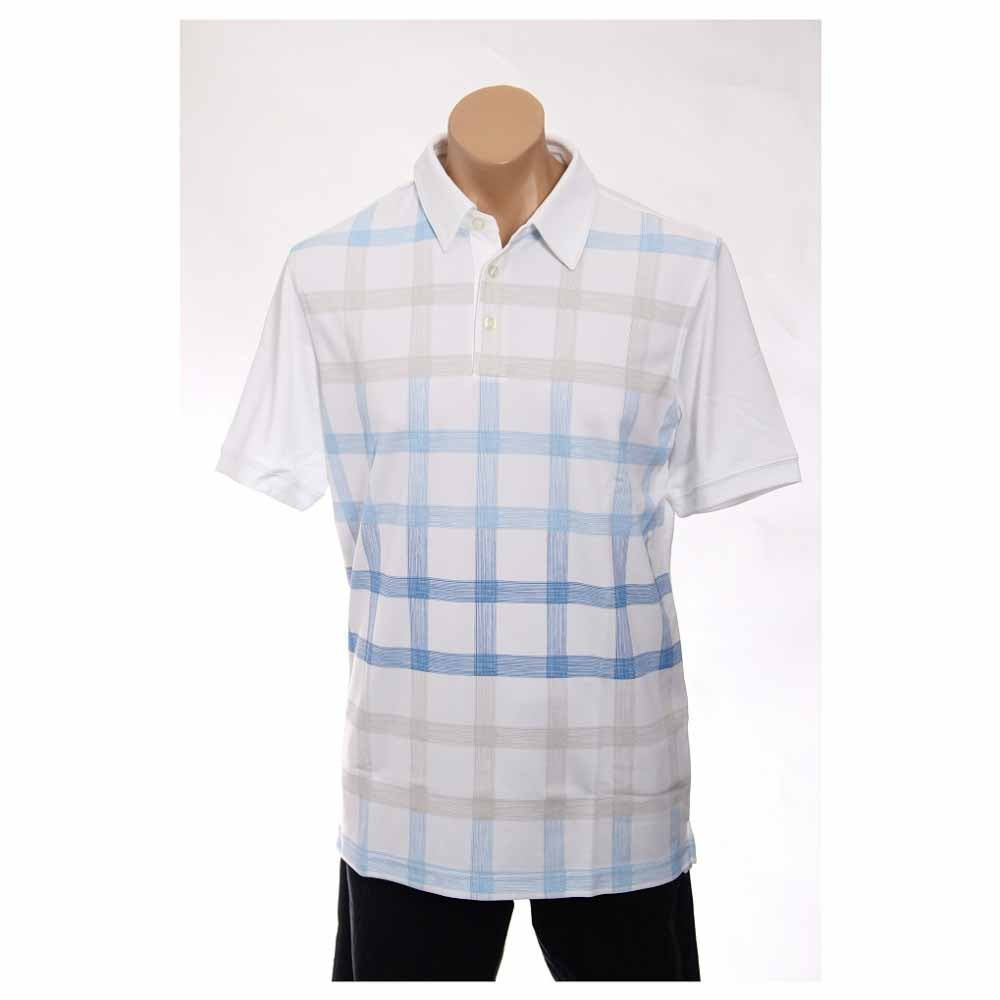 Image of Ashworth Performance Double Knit Front Panel Print Golf Shirt White - Mens - Size