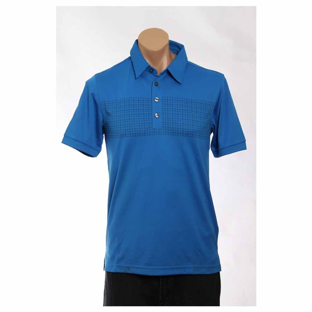 Image of Ashworth Performance Double Knit Chest Print Golf Shirt Blue - Mens - Size