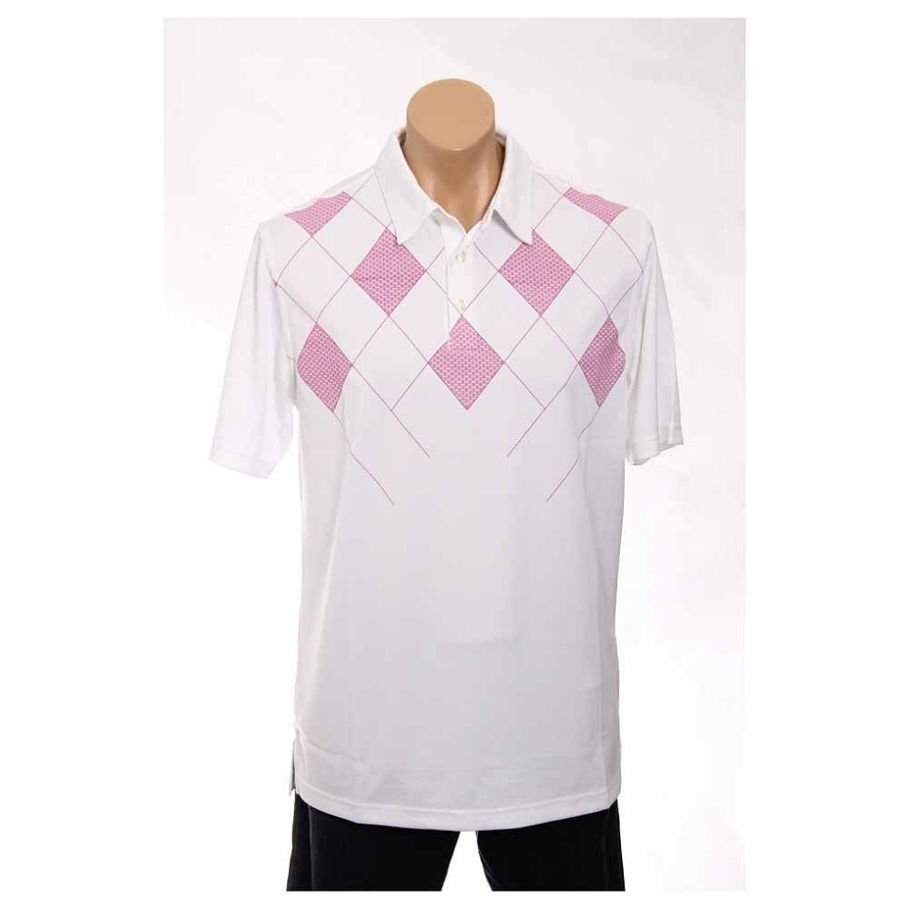 Image of Ashworth Performance Double Knit Front Panel Print Golf Shirt Pink - Mens - Size