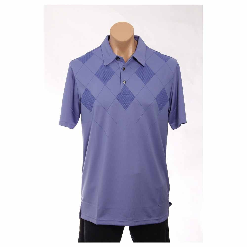 Image of Ashworth Performance Double Knit Front Panel Print Golf Shirt Blue - Mens - Size