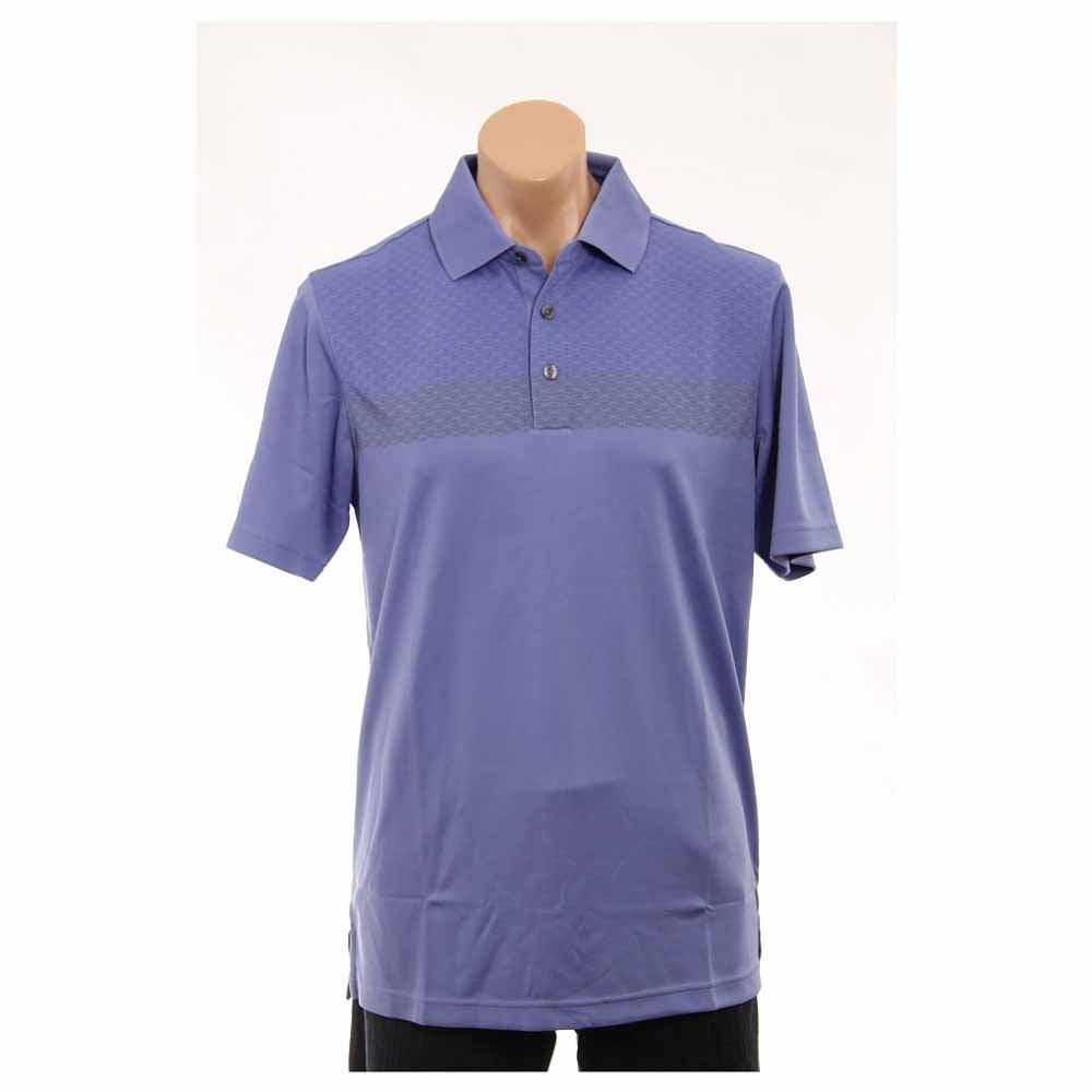 Image of Ashworth Performance Double Knit Chest Print Golf Shirt Purple - Mens - Size