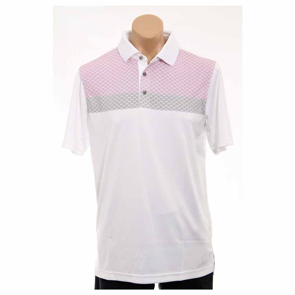 Image of Ashworth Performance Double Knit Chest Print Golf Shirt White - Mens - Size