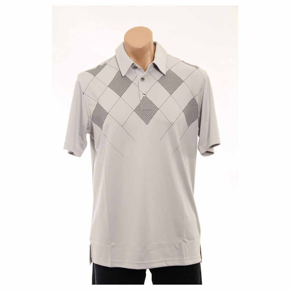 Image of Ashworth Performance Double Knit Front Panel Print Golf Shirt Grey - Mens - Size