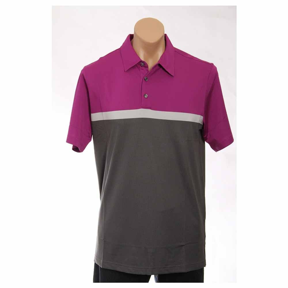 Image of Ashworth Performance Blocked Golf Shirt Pink - Mens - Size